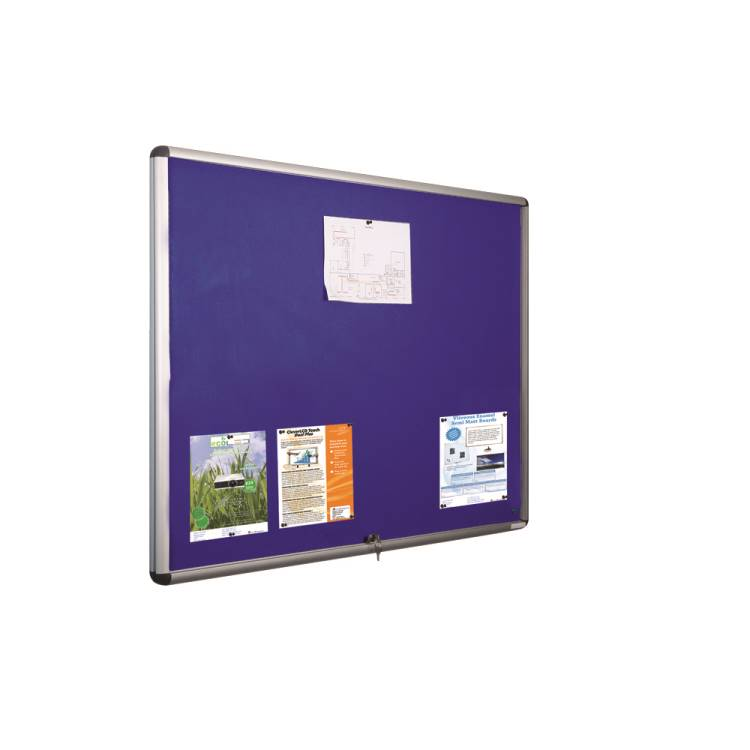 Sahara Glazed lockable noticeboard 1200 x 900mm BLUE 1 door
