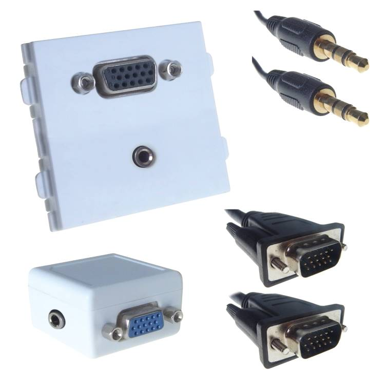VGA modular kit for non powered connectivity over CAT6
