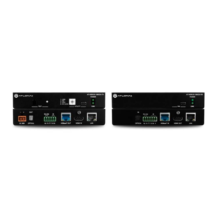 Atlona AT-HDR-EX100CEAK 4K HDR HDMI Over 100 M HDBaseT TX/RX with Ethernet, Control, PoE, and Return Audio