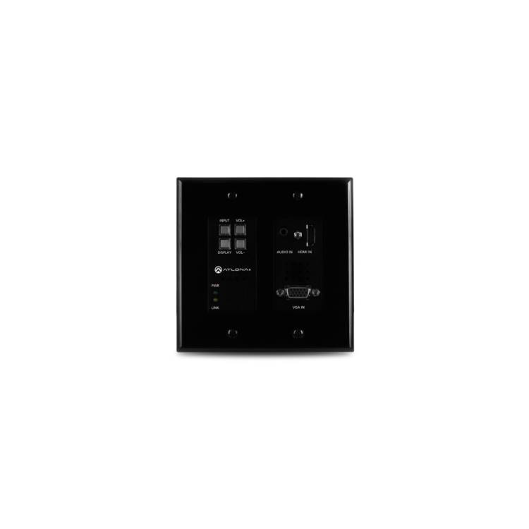 Atlona AT-HDVS-200TXWPB Two-Input Wallplate Switcher for HDMI and VGA with Ethernet-Enabled HDBaseT Output – Black