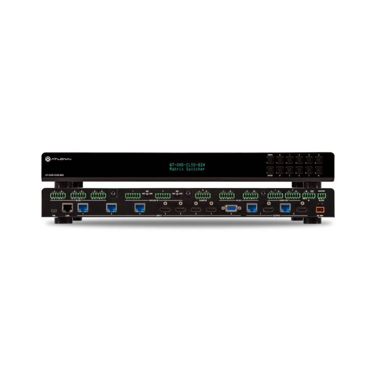 Atlona AT-UHD-CLSO-824 4K/UHD 8×2 Multi-Format Matrix Switcher with Dual, Mirrored HDMI / HDBaseT Outputs