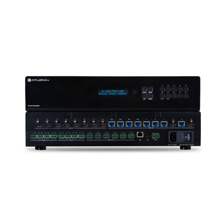 Atlona AT-UHD-PRO3-88M 4K/UHD Dual-Distance 8×8 HDMI to HDBaseT Matrix Switcher with PoE