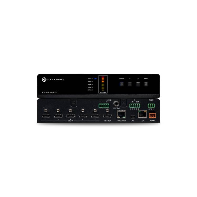Atlona AT-UHD-SW-52ED 4K/UHD Five-Input HDMI Switcher with Mirrored HDMI / HDBaseT Outputs