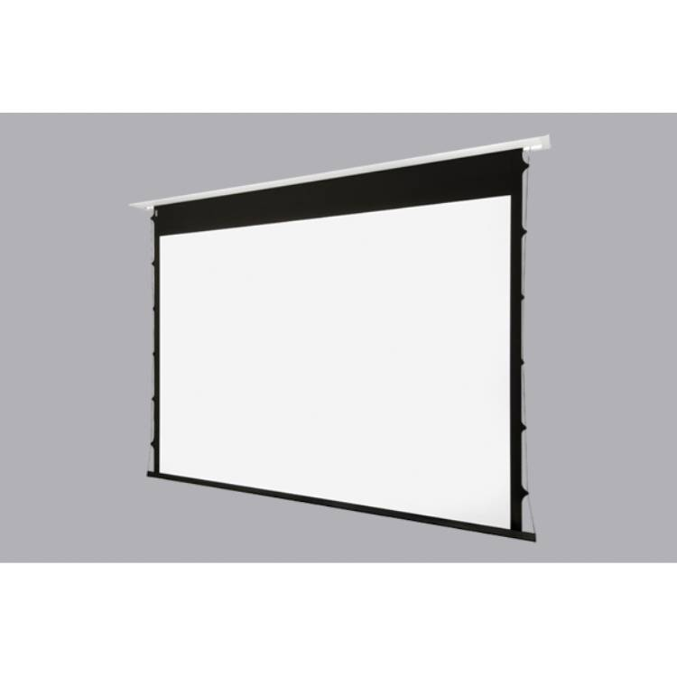 Inceiling tensioned 16:10 viewing area 244cm x153cm- 5cm borders flatvision